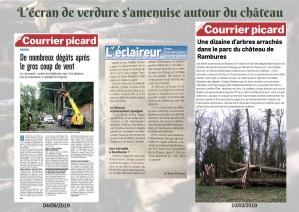 Articles de presse relatant les dégâts naturels causés par les tempêtes et la tornade